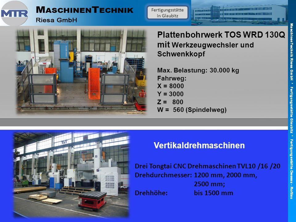 Plattenbohrwerk TOS WRD 130Q mit Werkzeugwechsler und Schwenkkopf Max. Belastung: 30.000 kg Fahrweg: X = 8000 Y = 3000 Z = 800 W = 560 (Spindelweg) Ve