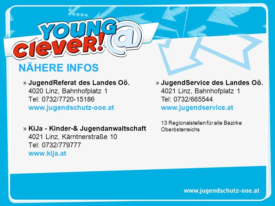 »JugendReferat des Landes Oö. 4020 Linz, Bahnhofplatz 1 Tel: 0732/7720-15186 www.jugendschutz-ooe.at »KiJa - Kinder-& Jugendanwaltschaft 4021 Linz, Kä