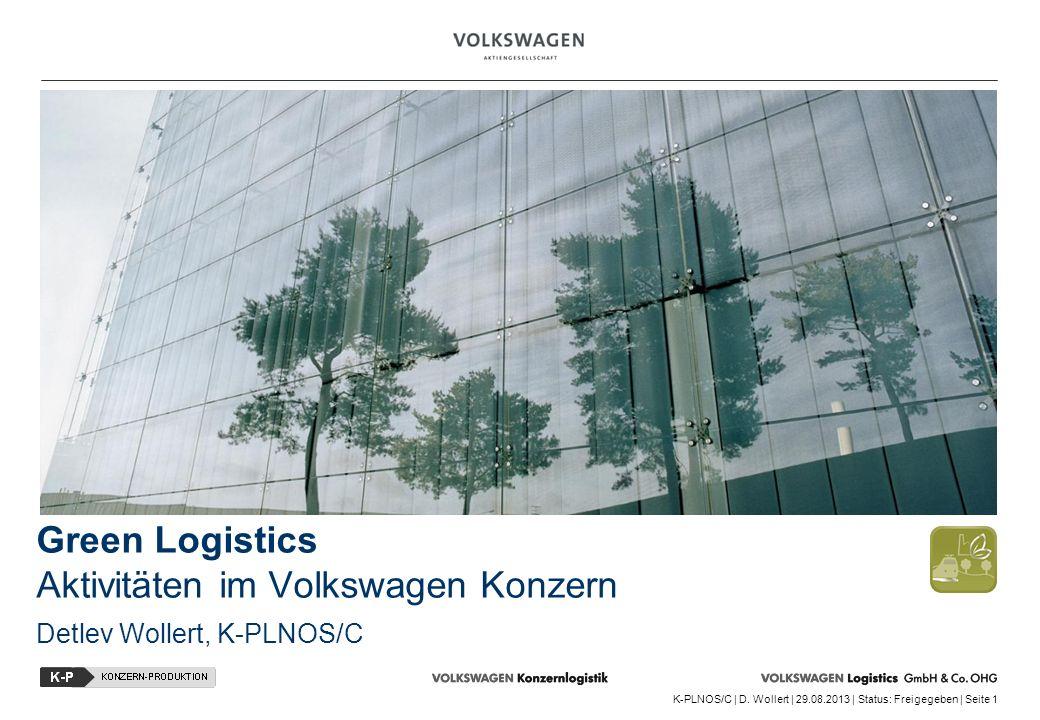 K-PLNOS/C | D. Wollert | 29.08.2013 | Status: Freigegeben | Seite 1 Green Logistics Aktivitäten im Volkswagen Konzern Detlev Wollert, K-PLNOS/C