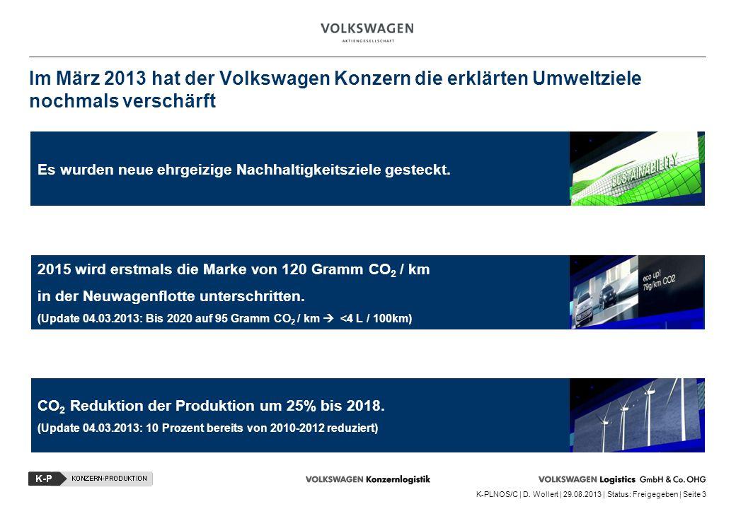 K-PLNOS/C | D. Wollert | 29.08.2013 | Status: Freigegeben | Seite 3 Im März 2013 hat der Volkswagen Konzern die erklärten Umweltziele nochmals verschä