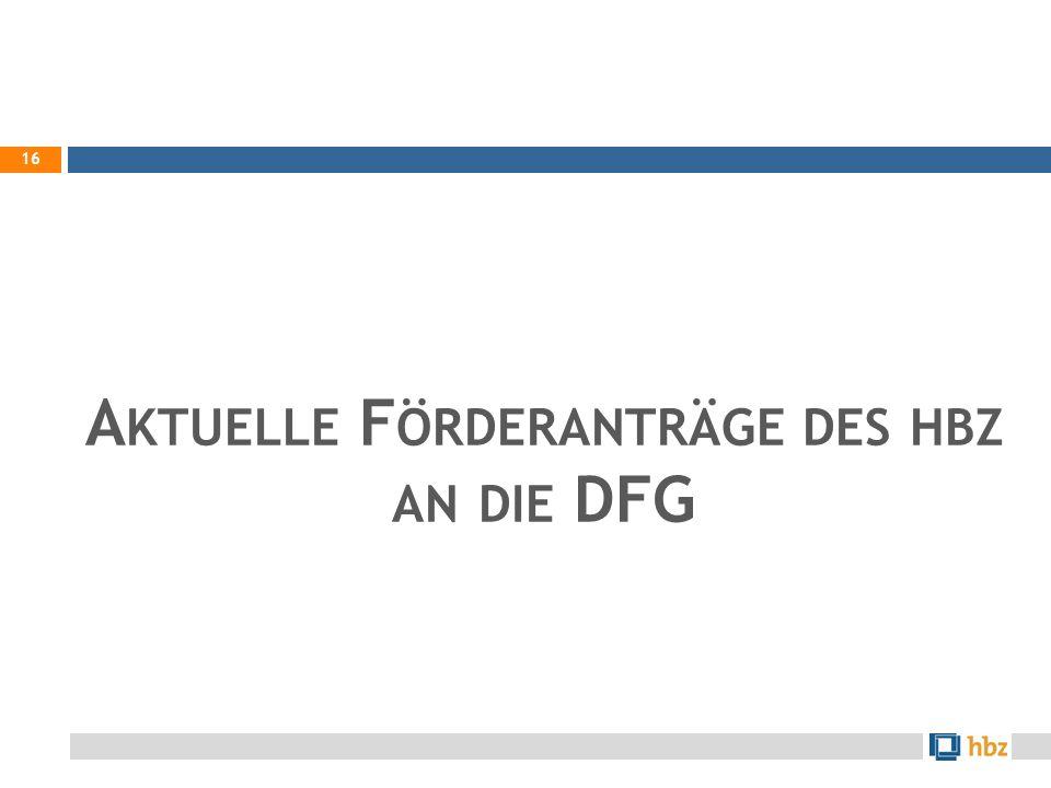 A KTUELLE F ÖRDERANTRÄGE DES HBZ AN DIE DFG 16