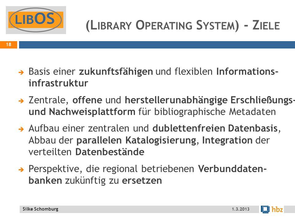 Silke Schomburg (L IBRARY O PERATING S YSTEM ) - Z IELE Basis einer zukunftsfähigen und flexiblen Informations- infrastruktur Zentrale, offene und herstellerunabhängige Erschließungs- und Nachweisplattform für bibliographische Metadaten Aufbau einer zentralen und dublettenfreien Datenbasis, Abbau der parallelen Katalogisierung, Integration der verteilten Datenbestände Perspektive, die regional betriebenen Verbunddaten- banken zukünftig zu ersetzen 18 1.3.2013