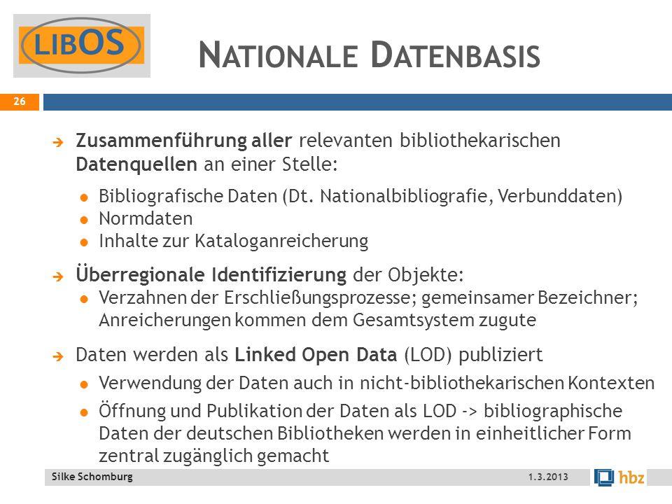 Silke Schomburg N ATIONALE D ATENBASIS Zusammenführung aller relevanten bibliothekarischen Datenquellen an einer Stelle: Bibliografische Daten (Dt.