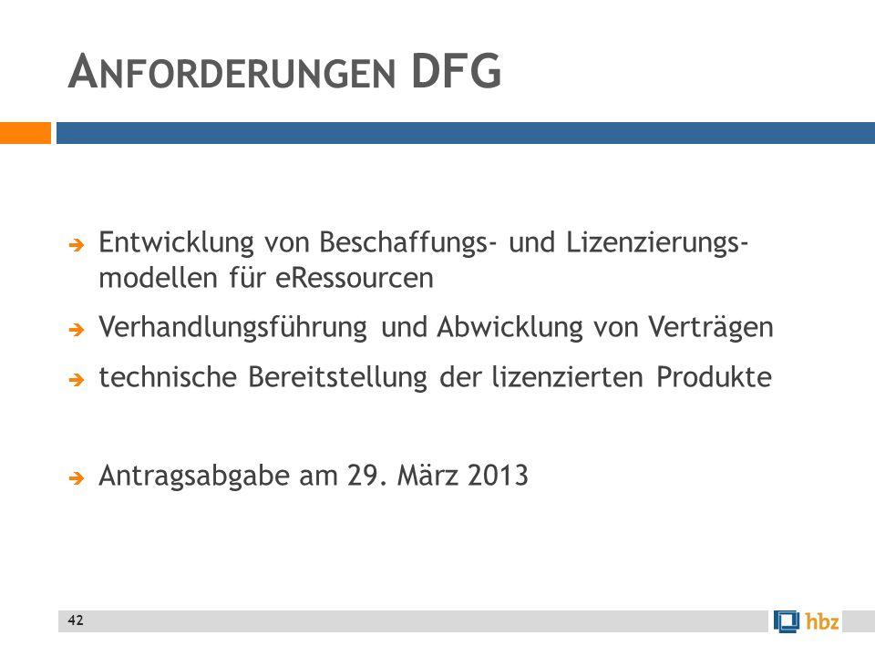 A NFORDERUNGEN DFG Entwicklung von Beschaffungs- und Lizenzierungs- modellen für eRessourcen Verhandlungsführung und Abwicklung von Verträgen technische Bereitstellung der lizenzierten Produkte Antragsabgabe am 29.