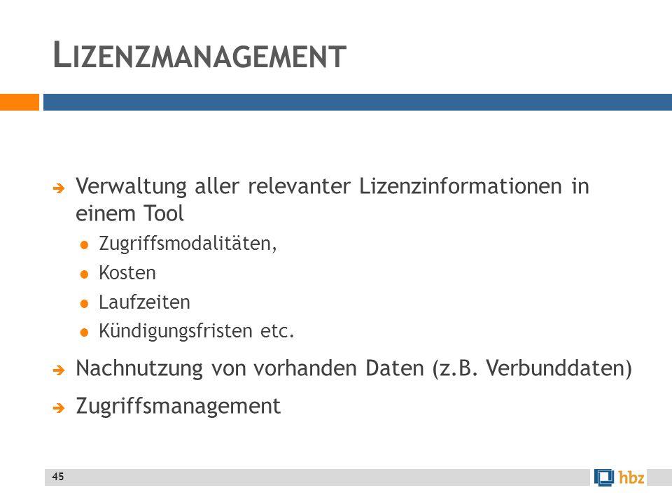L IZENZMANAGEMENT Verwaltung aller relevanter Lizenzinformationen in einem Tool Zugriffsmodalitäten, Kosten Laufzeiten Kündigungsfristen etc.