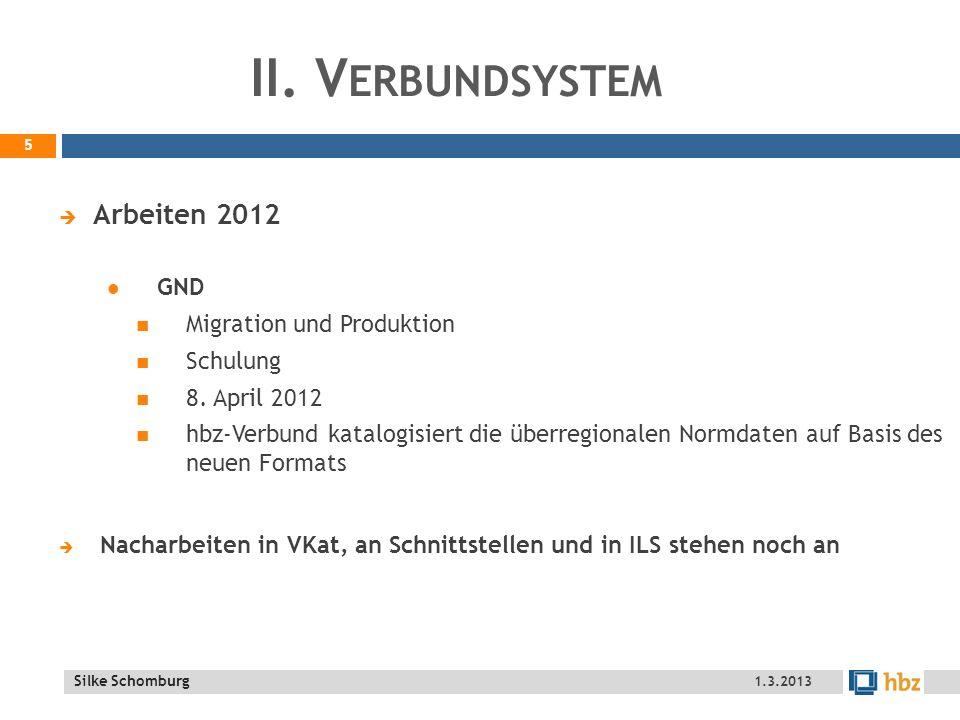 Silke Schomburg II.V ERBUNDSYSTEM Arbeiten 2012 GND Migration und Produktion Schulung 8.