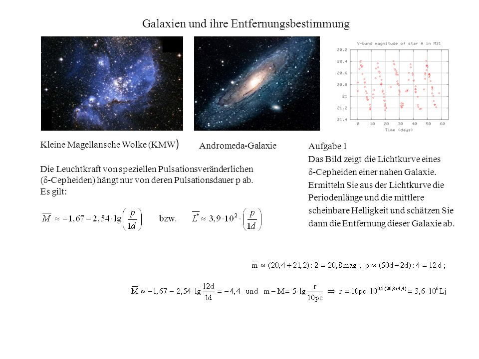 Galaxien und ihre Entfernungsbestimmung Die Leuchtkraft von speziellen Pulsationsveränderlichen (δ-Cepheiden) hängt nur von deren Pulsationsdauer p ab.