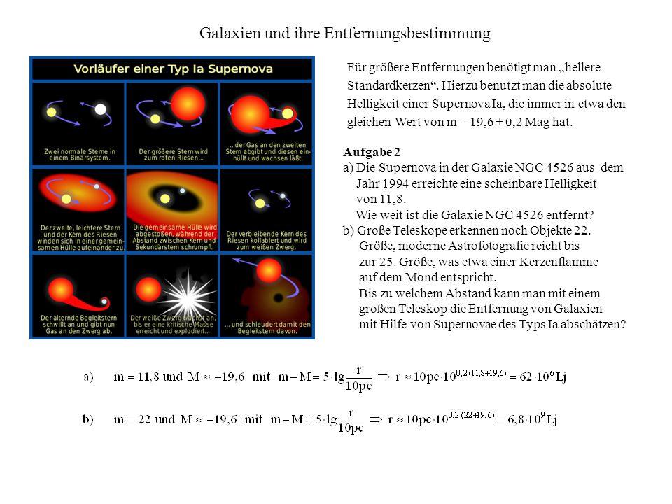Galaxien und ihre Entfernungsbestimmung Für größere Entfernungen benötigt man hellere Standardkerzen.