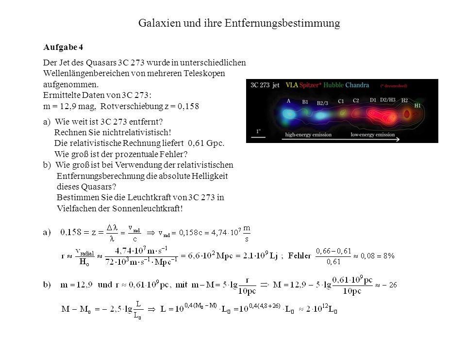 Galaxien und ihre Entfernungsbestimmung Aufgabe 4 Der Jet des Quasars 3C 273 wurde in unterschiedlichen Wellenlängenbereichen von mehreren Teleskopen aufgenommen.