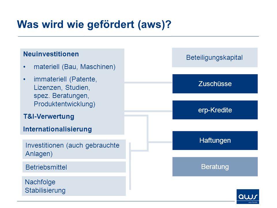 Was wird wie gefördert (aws)? Zuschüsse erp-Kredite Haftungen Beratung Neuinvestitionen materiell (Bau, Maschinen) immateriell (Patente, Lizenzen, Stu