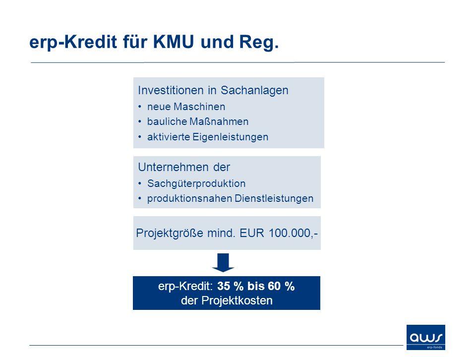 erp-Kredit für KMU und Reg. Investitionen in Sachanlagen neue Maschinen bauliche Maßnahmen aktivierte Eigenleistungen Projektgröße mind. EUR 100.000,-