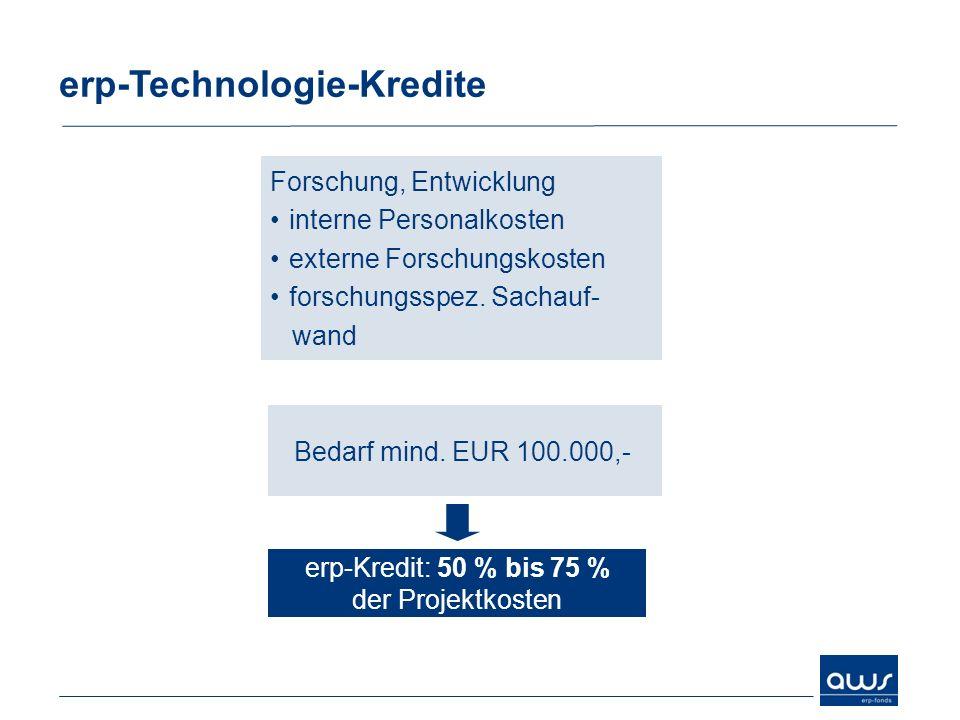 erp-Technologie-Kredite Bedarf mind. EUR 100.000,- erp-Kredit: 50 % bis 75 % der Projektkosten Forschung, Entwicklung interne Personalkosten externe F