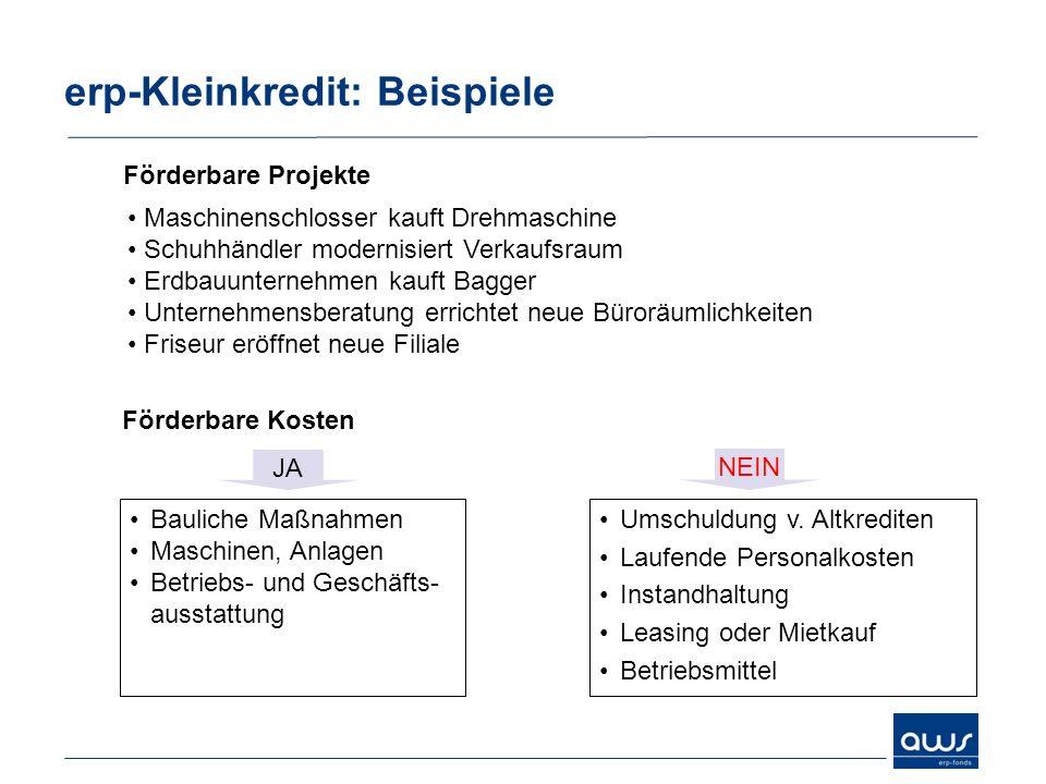 erp-Kleinkredit: Beispiele Bauliche Maßnahmen Maschinen, Anlagen Betriebs- und Geschäfts- ausstattung JA Umschuldung v. Altkrediten Laufende Personalk