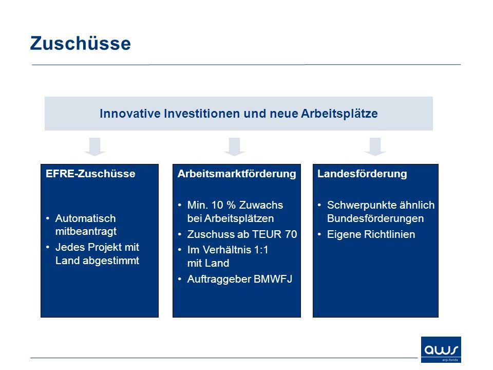 Zuschüsse Innovative Investitionen und neue Arbeitsplätze EFRE-Zuschüsse Automatisch mitbeantragt Jedes Projekt mit Land abgestimmt Arbeitsmarktförder