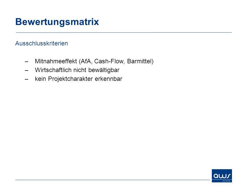 Bewertungsmatrix Ausschlusskriterien –Mitnahmeeffekt (AfA, Cash-Flow, Barmittel) –Wirtschaftlich nicht bewältigbar –kein Projektcharakter erkennbar