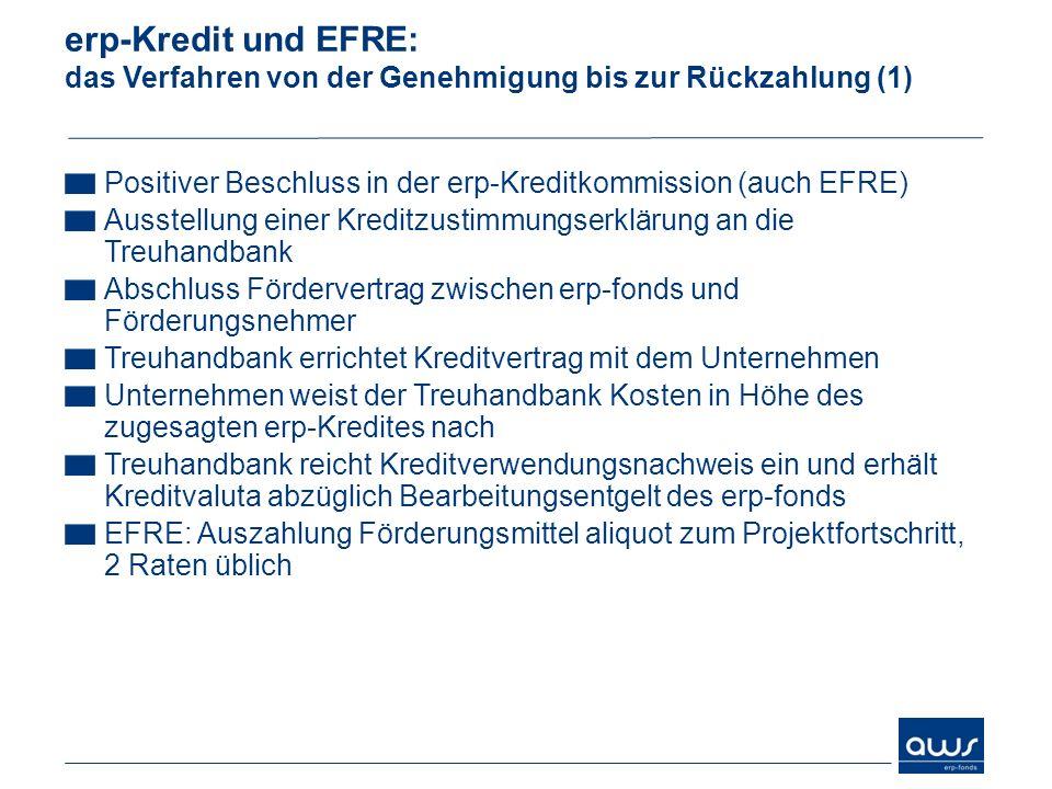 erp-Kredit und EFRE: das Verfahren von der Genehmigung bis zur Rückzahlung (1) Positiver Beschluss in der erp-Kreditkommission (auch EFRE) Ausstellung