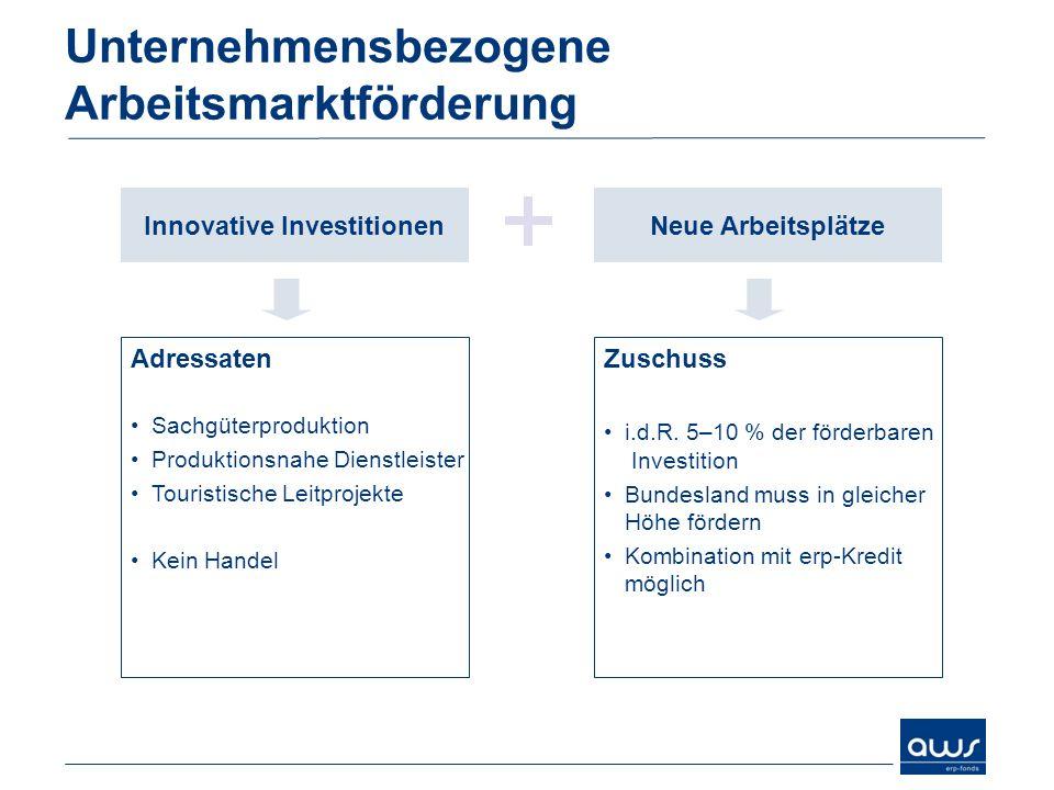 Unternehmensbezogene Arbeitsmarktförderung Innovative InvestitionenNeue Arbeitsplätze Adressaten Sachgüterproduktion Produktionsnahe Dienstleister Tou