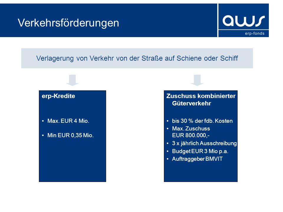 Verkehrsförderungen Verlagerung von Verkehr von der Straße auf Schiene oder Schiff erp-Kredite Max. EUR 4 Mio. Min EUR 0,35 Mio. Zuschuss kombinierter