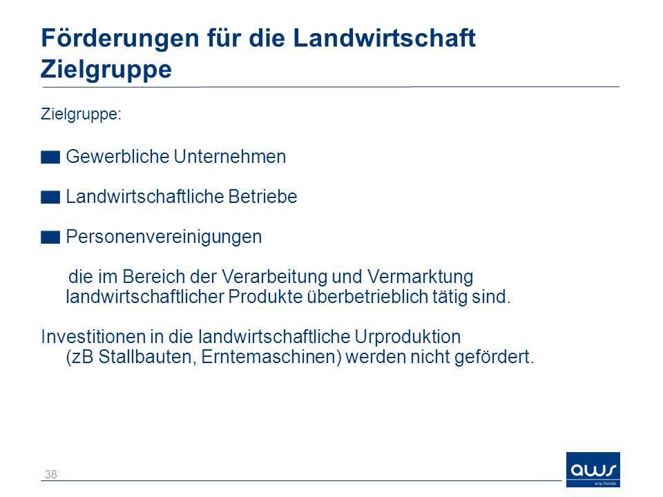 Förderungen für die Landwirtschaft Zielgruppe Zielgruppe: Gewerbliche Unternehmen Landwirtschaftliche Betriebe Personenvereinigungen die im Bereich de
