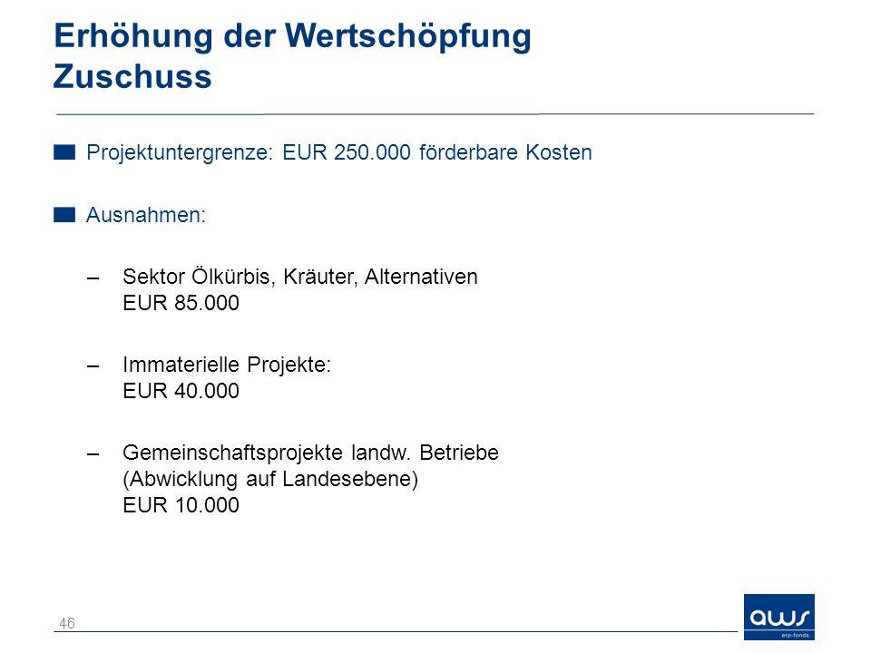 Erhöhung der Wertschöpfung Zuschuss Projektuntergrenze: EUR 250.000 förderbare Kosten Ausnahmen: –Sektor Ölkürbis, Kräuter, Alternativen EUR 85.000 –I