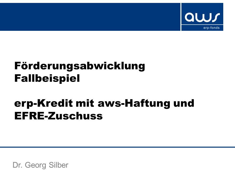 Förderungsabwicklung Fallbeispiel erp-Kredit mit aws-Haftung und EFRE-Zuschuss Dr. Georg Silber