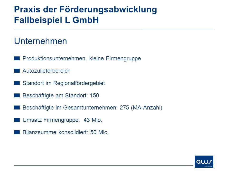 Praxis der Förderungsabwicklung Fallbeispiel L GmbH Unternehmen Produktionsunternehmen, kleine Firmengruppe Autozulieferbereich Standort im Regionalfö