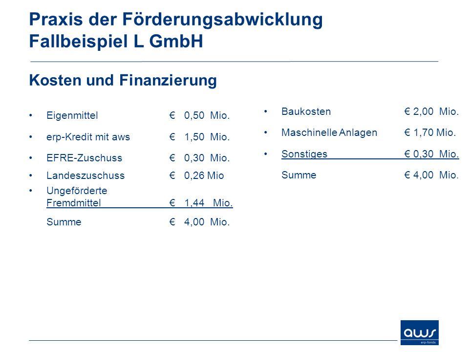 Praxis der Förderungsabwicklung Fallbeispiel L GmbH Kosten und Finanzierung Eigenmittel 0,50 Mio. erp-Kredit mit aws 1,50 Mio. EFRE-Zuschuss 0,30 Mio.