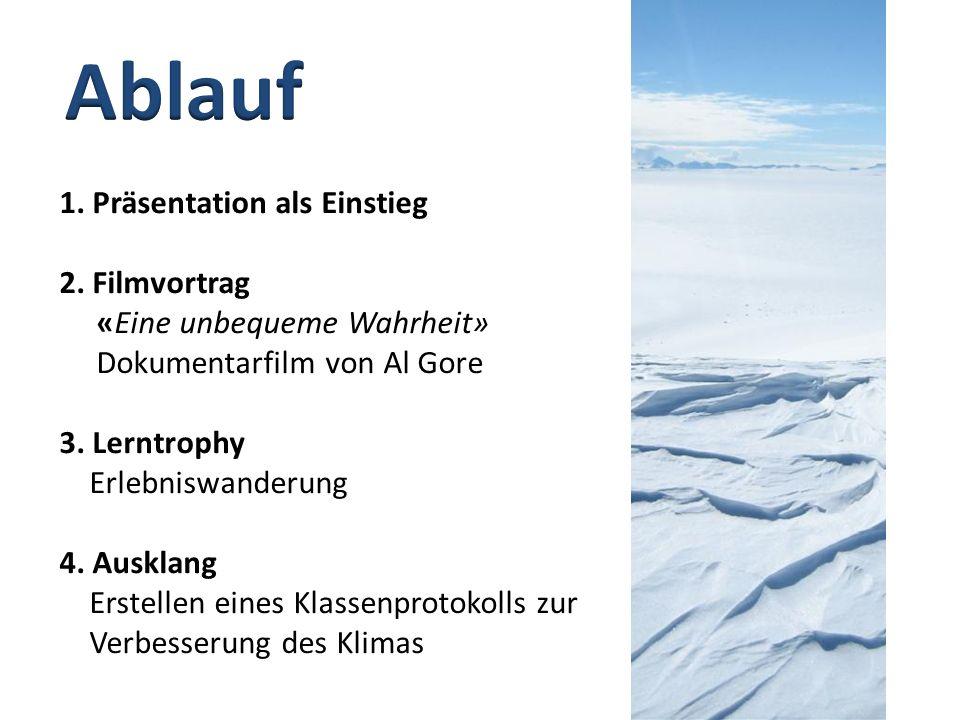 1.Präsentation als Einstieg 2. Filmvortrag «Eine unbequeme Wahrheit» Dokumentarfilm von Al Gore 3.