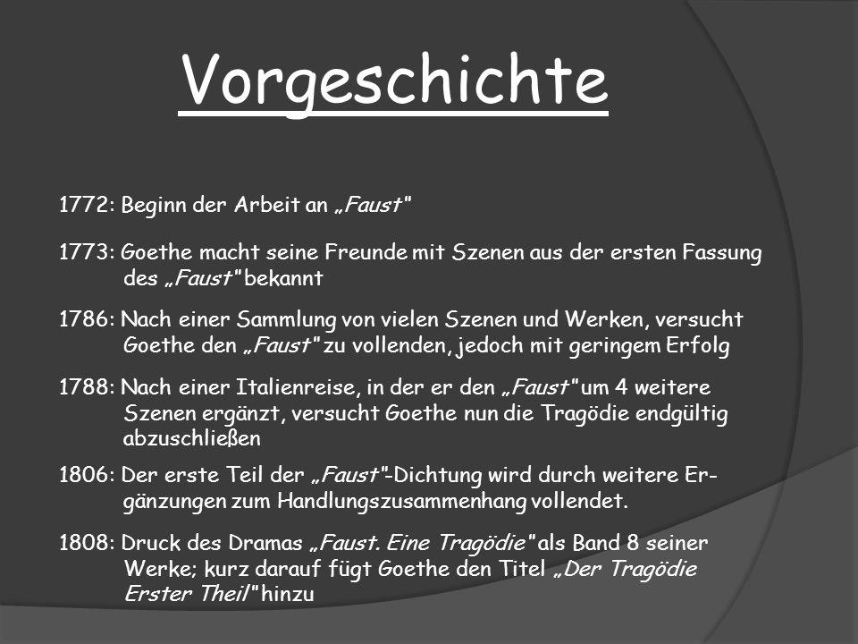 Vorgeschichte 1772: Beginn der Arbeit an Faust 1773: Goethe macht seine Freunde mit Szenen aus der ersten Fassung des Faust bekannt 1786: Nach einer S