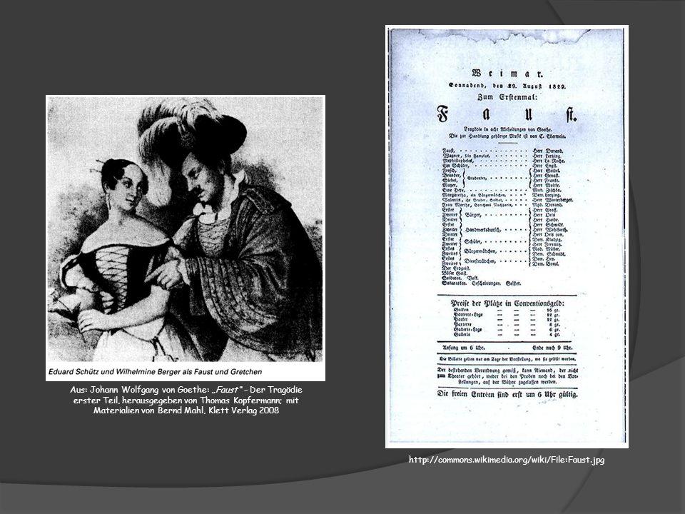 Aus: Johann Wolfgang von Goethe: Faust – Der Tragödie erster Teil, herausgegeben von Thomas Kopfermann; mit Materialien von Bernd Mahl, Klett Verlag 2