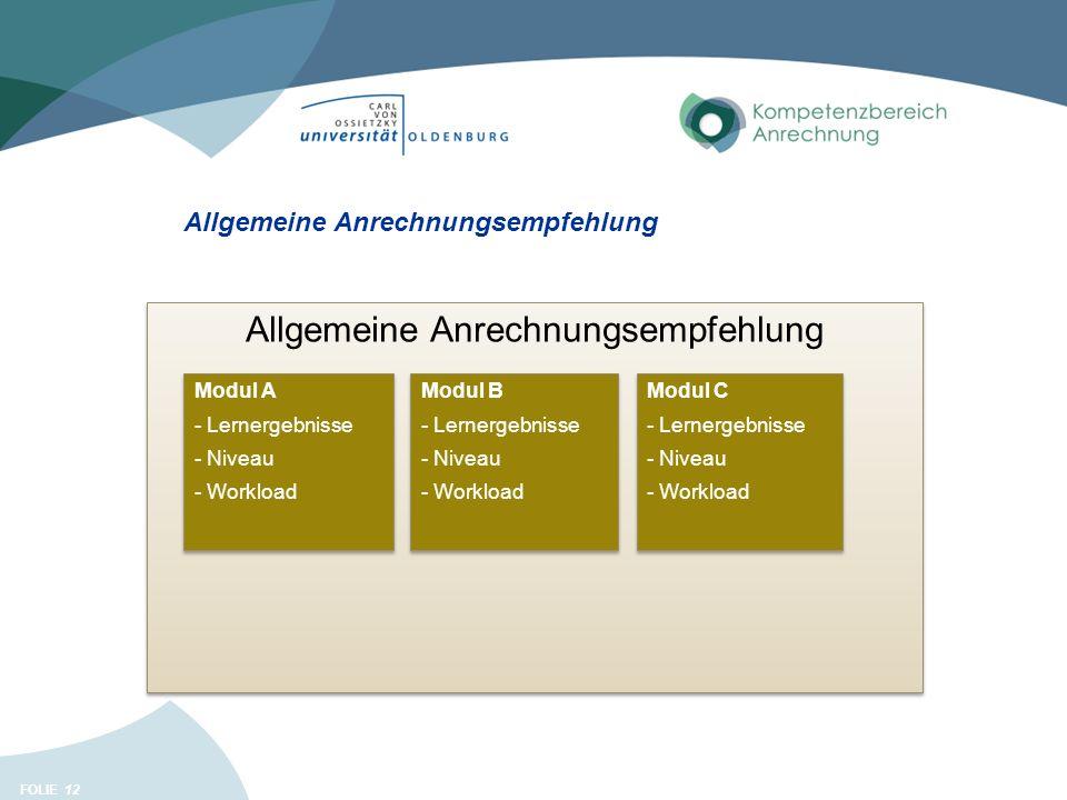 FOLIE 12 Allgemeine Anrechnungsempfehlung Modul A - Lernergebnisse - Niveau - Workload Modul A - Lernergebnisse - Niveau - Workload Modul B - Lernergebnisse - Niveau - Workload Modul B - Lernergebnisse - Niveau - Workload Modul C - Lernergebnisse - Niveau - Workload Modul C - Lernergebnisse - Niveau - Workload