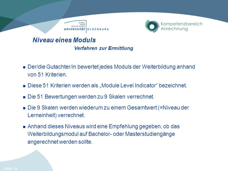 FOLIE 13 Niveau eines Moduls Der/die Gutachter/in bewertet jedes Moduls der Weiterbildung anhand von 51 Kriterien.