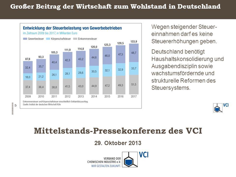 29. Oktober 2013 Mittelstands-Pressekonferenz des VCI Großer Beitrag der Wirtschaft zum Wohlstand in Deutschland Wegen steigender Steuer- einnahmen da