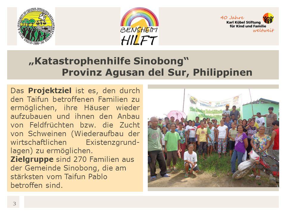 3 Katastrophenhilfe Sinobong Provinz Agusan del Sur, Philippinen Das Projektziel ist es, den durch den Taifun betroffenen Familien zu ermöglichen, ihre Häuser wieder aufzubauen und ihnen den Anbau von Feldfrüchten bzw.
