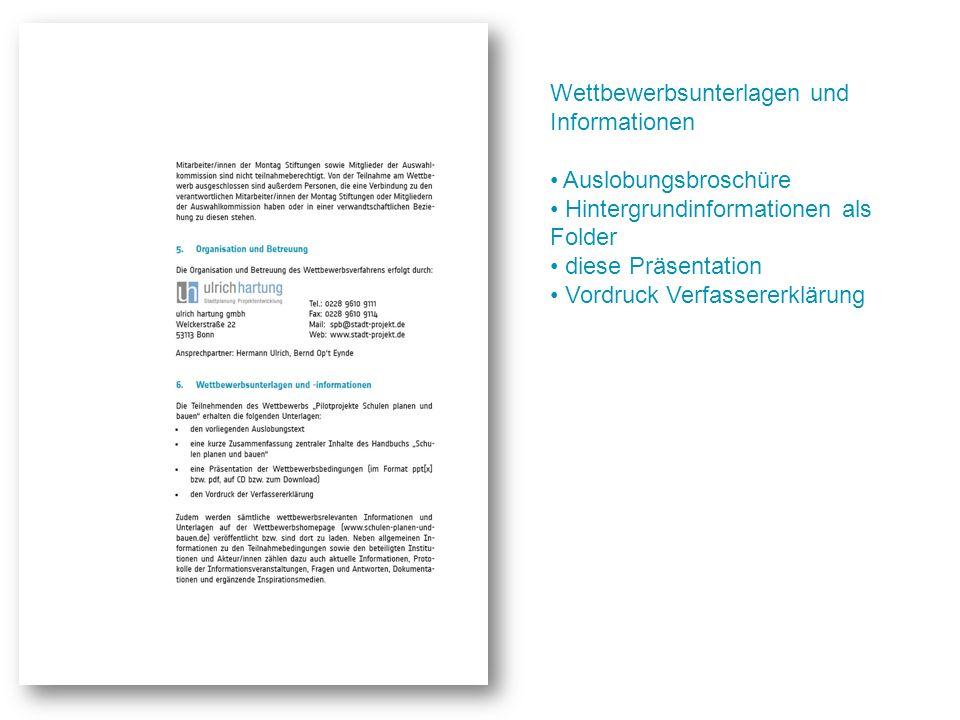 Wettbewerbsunterlagen und Informationen Auslobungsbroschüre Hintergrundinformationen als Folder diese Präsentation Vordruck Verfassererklärung