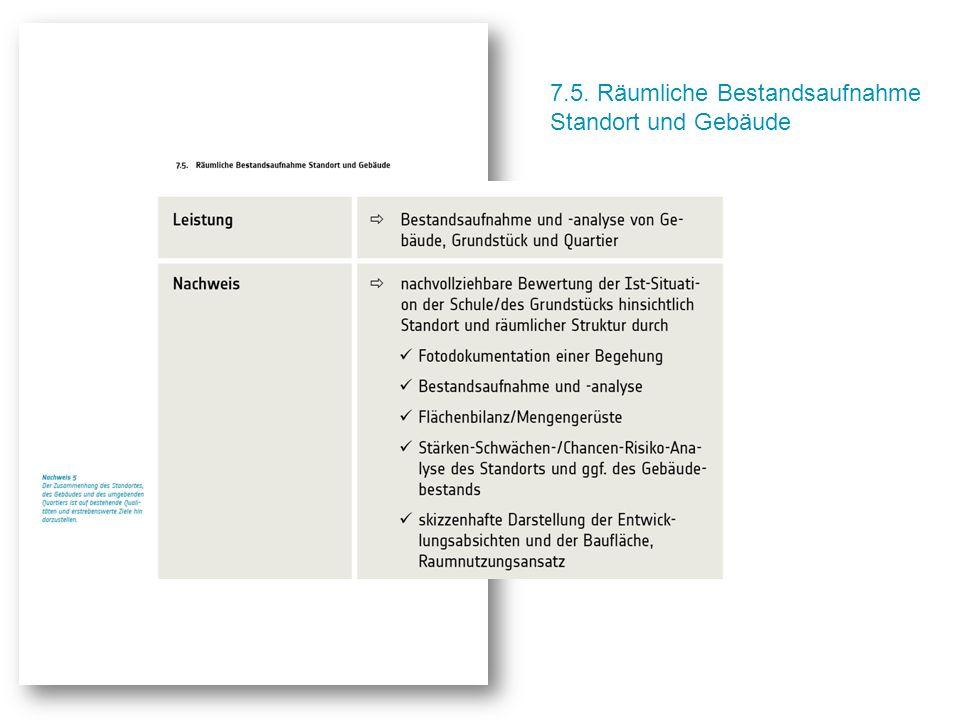 7.5. Räumliche Bestandsaufnahme Standort und Gebäude