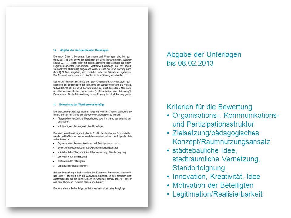 Abgabe der Unterlagen bis 08.02.2013 Kriterien für die Bewertung Organisations-, Kommunikations- und Partizipationsstruktur Zielsetzung/pädagogisches