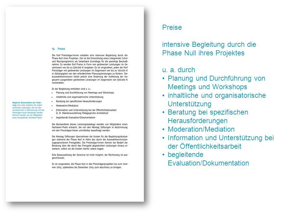 Preise intensive Begleitung durch die Phase Null ihres Projektes u. a. durch Planung und Durchführung von Meetings und Workshops inhaltliche und organ