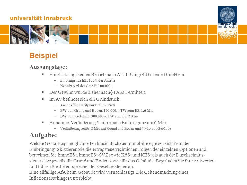 Beispiel Ausgangslage: Ein EU bringt seinen Betrieb nach Art III UmgrStG in eine GmbH ein. Einbringende hält 100% der Anteile Nennkapital der GmbH: 10