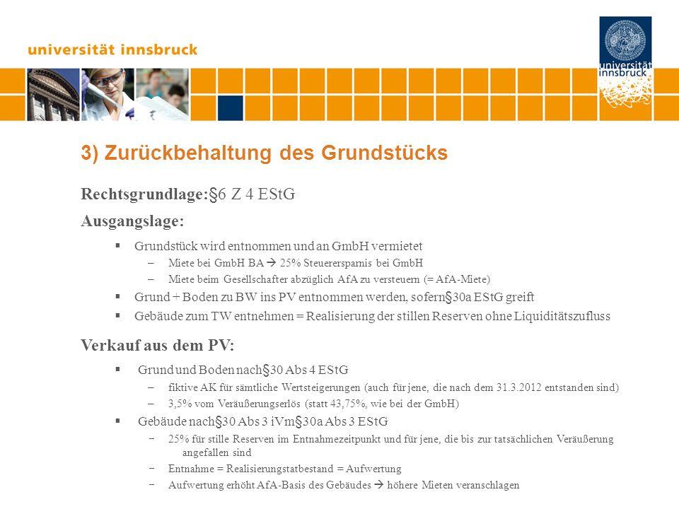 3) Zurückbehaltung des Grundstücks Rechtsgrundlage:§6 Z 4 EStG Ausgangslage: Grundstück wird entnommen und an GmbH vermietet – Miete bei GmbH BA 25% S