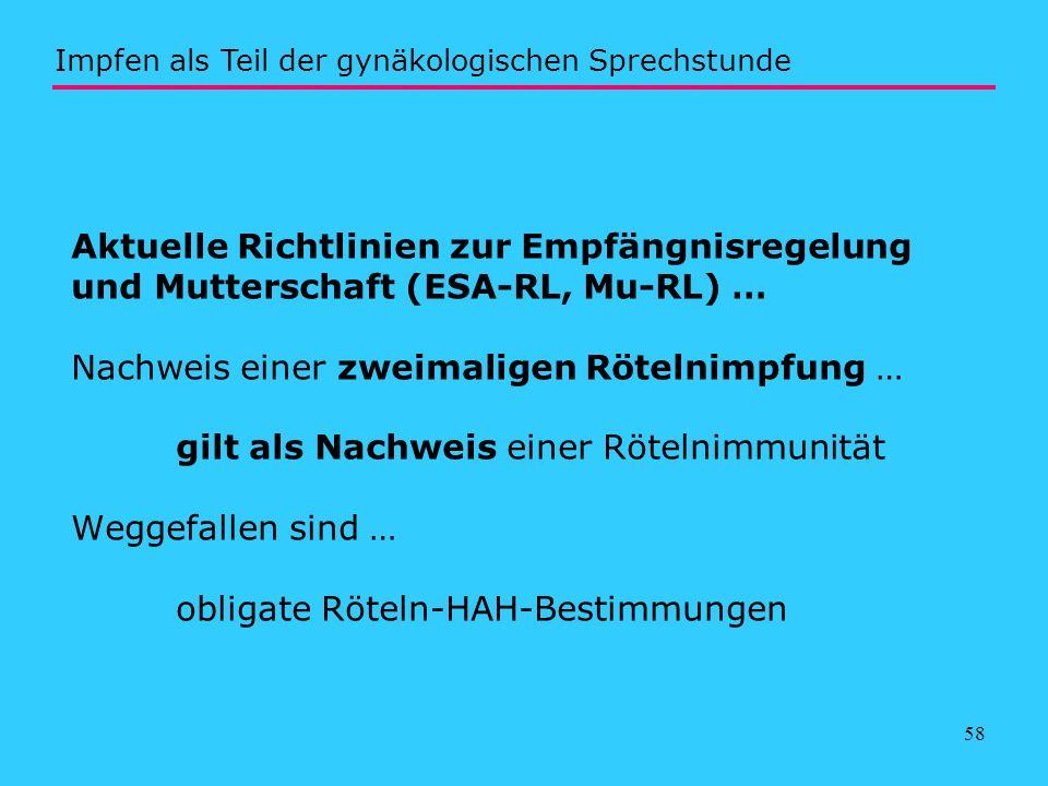 58 Aktuelle Richtlinien zur Empfängnisregelung und Mutterschaft (ESA-RL, Mu-RL) … Nachweis einer zweimaligen Rötelnimpfung … gilt als Nachweis einer R