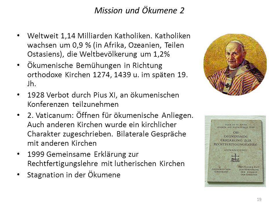Mission und Ökumene 2 Weltweit 1,14 Milliarden Katholiken.