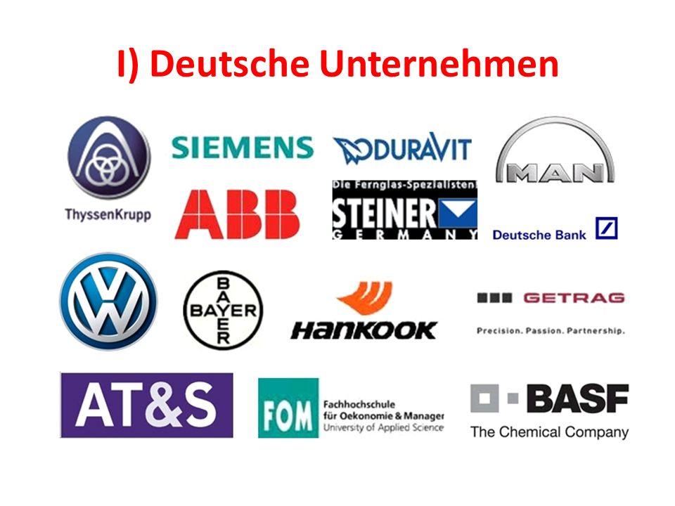 A) Unternehmensgrößen Größe der Unternehmen je nach der Zahl der Beschäftigte in Deutschland in 2011 BetriebsgrößenklassenAnzahl von Unternehmen 1 bis 9 Beschäftigte (Kleinstbetriebe)1 665 327 10 bis 49 Beschäftigte (Kleinbetriebe)334 601 50 bis 249 Beschäftigte (Mittelbetriebe) 80 033 Mehr als 250 Beschäftigte (Großbetriebe) 13 953 Gesamt2 093 914 Quelle : Bundesinstitut für Berufsbildung