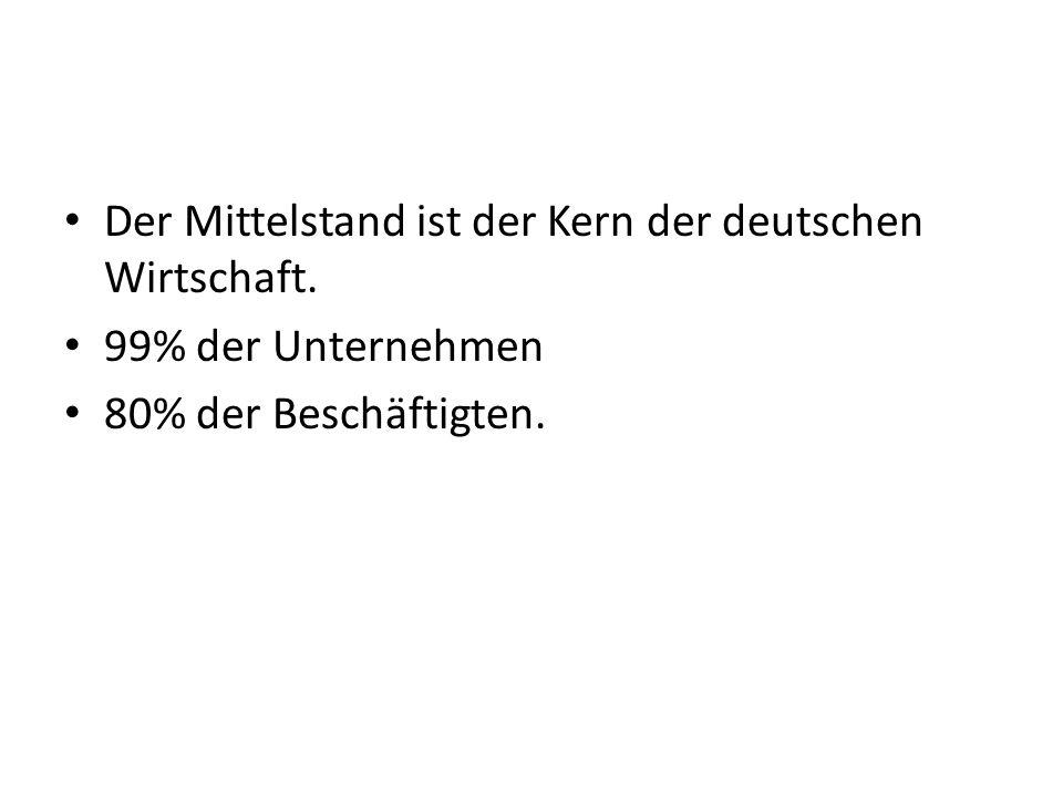 Der Mittelstand ist der Kern der deutschen Wirtschaft. 99% der Unternehmen 80% der Beschäftigten.