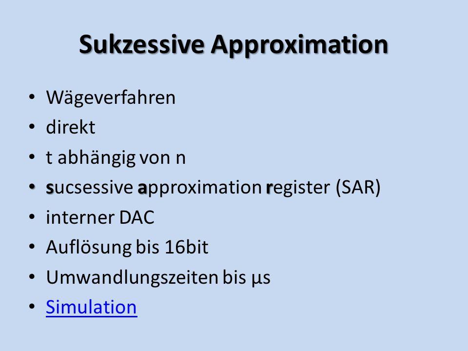SukzessiveApproximation Sukzessive Approximation Wägeverfahren direkt t abhängig von n sar sucsessive approximation register (SAR) interner DAC Auflösung bis 16bit Umwandlungszeiten bis µs Simulation