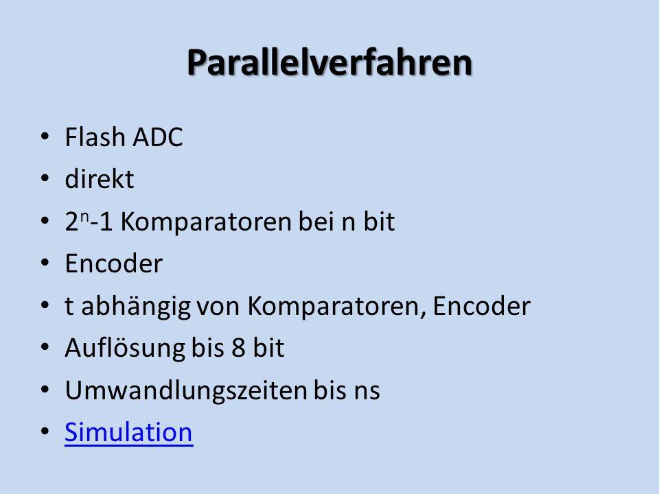 Parallelverfahren Flash ADC direkt 2 n -1 Komparatoren bei n bit Encoder t abhängig von Komparatoren, Encoder Auflösung bis 8 bit Umwandlungszeiten bis ns Simulation