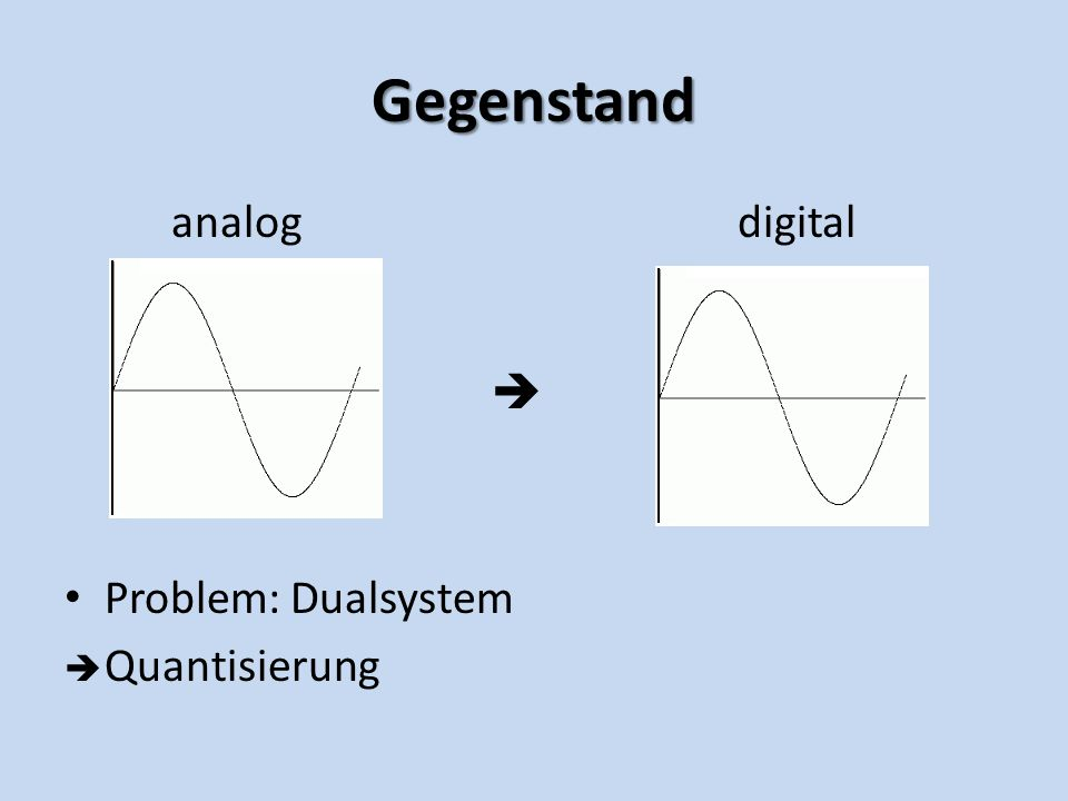 Gegenstand analog digital Problem: Dualsystem Quantisierung