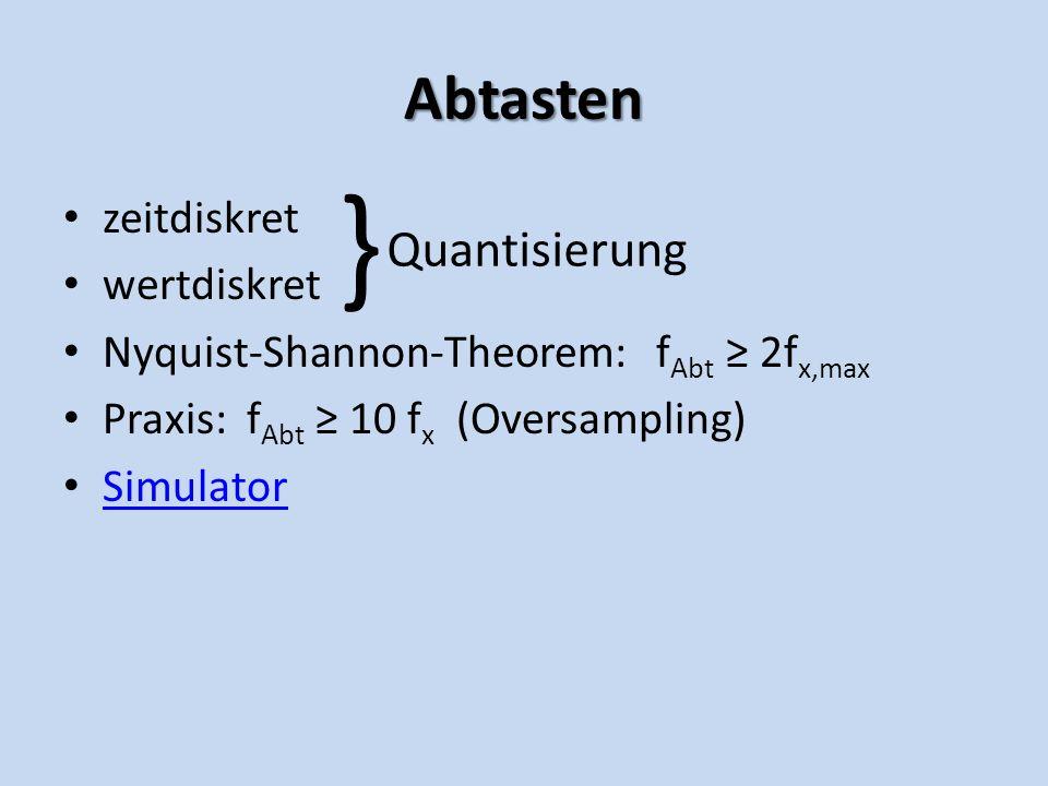 Abtasten zeitdiskret wertdiskret Nyquist-Shannon-Theorem: f Abt 2f x,max Praxis: f Abt 10 f x (Oversampling) Simulator } Quantisierung