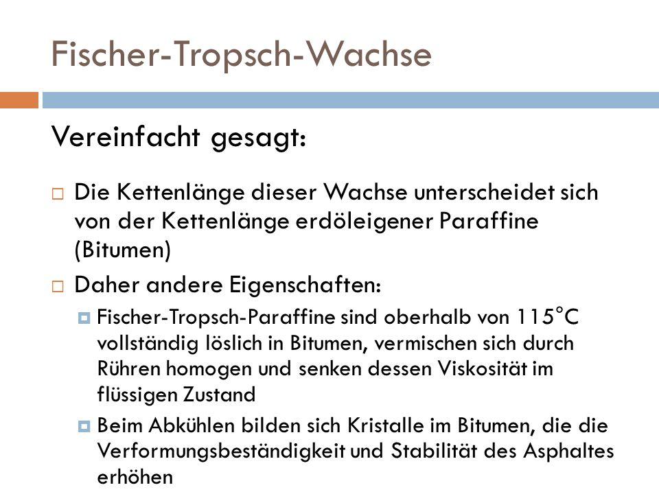 Fischer-Tropsch-Wachse Vereinfacht gesagt: Die Kettenlänge dieser Wachse unterscheidet sich von der Kettenlänge erdöleigener Paraffine (Bitumen) Daher