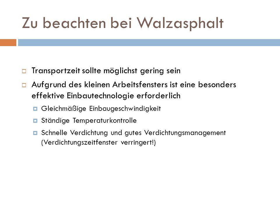 Zu beachten bei Walzasphalt Transportzeit sollte möglichst gering sein Aufgrund des kleinen Arbeitsfensters ist eine besonders effektive Einbautechnol